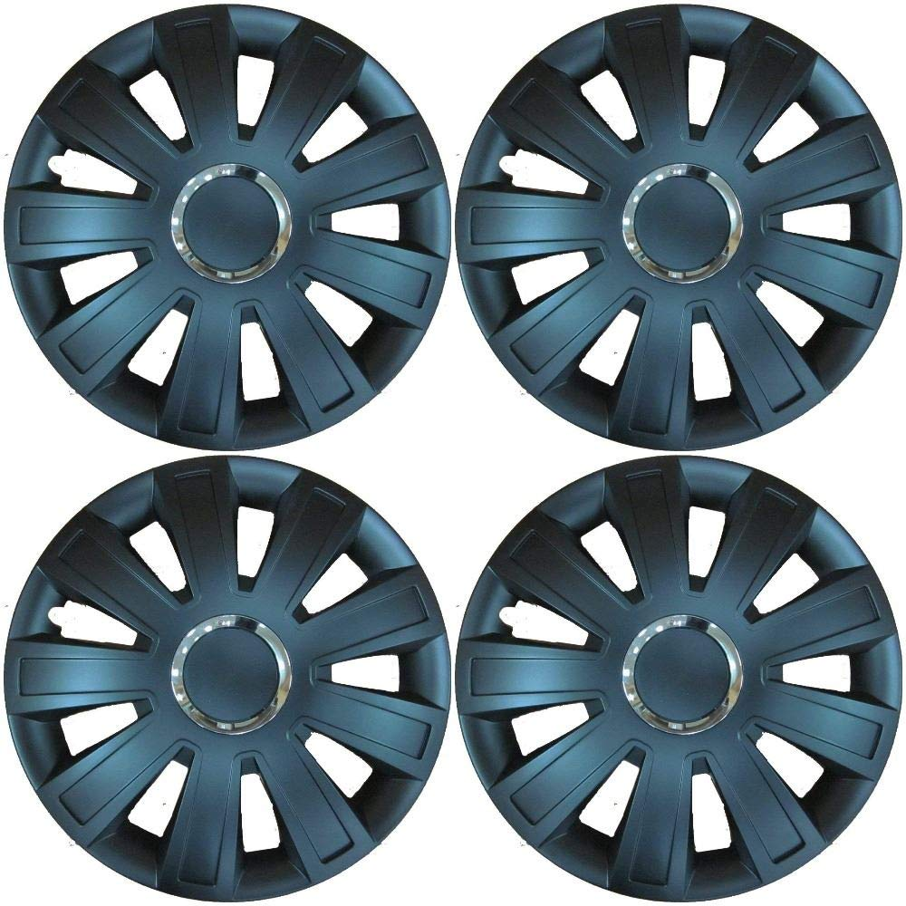 UKB4C 4x Black Wheel Trims Hub Caps 15 Covers fits Ford Vauxhall Astra H Corsa D