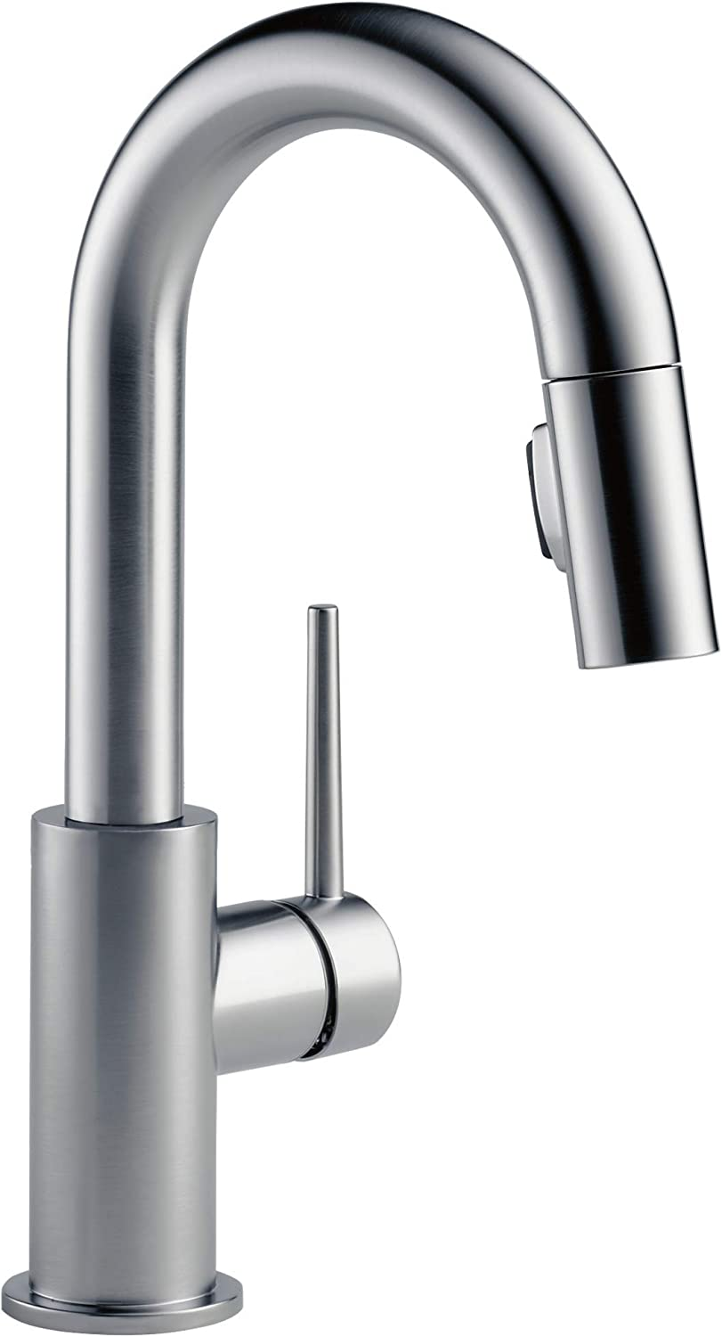 Delta Faucet 9959-ARLS-DST Trinsic Single Handle Bar Kitchen Swivel Pull-Down Prep, Arctic Stainless