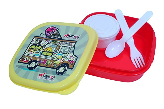 Wonder Kitkat Small Leak-Proof Lunch Box,1 Pc Lunch Box with 1 Separate Leakproof Container, Red Color, Made in India, KBS01249