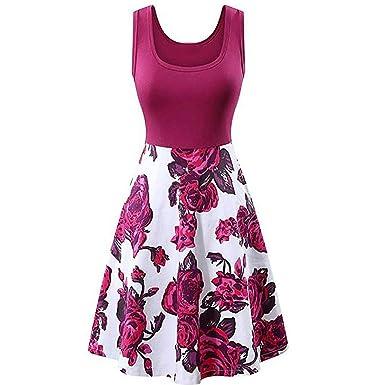ed7e73ecae3 Huazi2 Womens Vintage Sleeveless Neck Patchwork Elegant Sunflower A ...