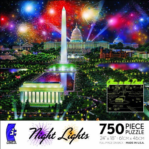 GLOW IN THE DARK Night Lights Washington Celebration 750 Piece Jigsaw Puzzle MADE IN USA PUZZLE