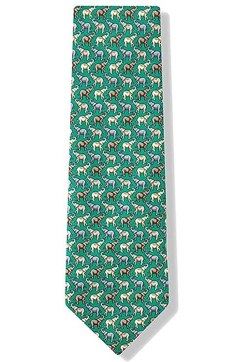 Elefante de paquidermo verde de seda 100% para hombre con corbata ...
