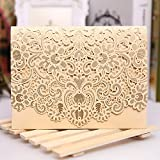 PONATIA 25pcs/Lot Colorful Laser Cut Square Wedding Party Invitations Cards with Lace for Engagement Wedding Marriage Bridal Bride Shower Party (Gold)