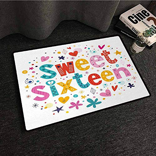 Washable Kitchen Area Rug 16th Birthday,Hand Drawn Style Cute and Sweet Sixteen Blossoms Petals Stars Heart Pattern,Multicolor,W31 xL47 Personalized Floor mats