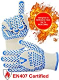 Amazing Oven Gloves (1 Pair-10,4 x 4,72 Inches) - EN407 Certified Oven Mitts with Heat Resistant Layer (up to 662°F ) - Perfect Grill Accessories for Barbecue, Smoking, Grilling, Cooking, Baking