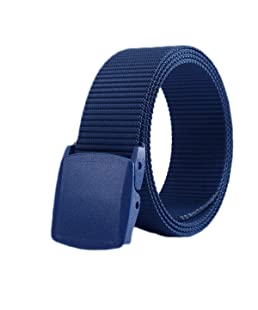 ZORO Army Tactical Waist Belt Hole free Plastic Buckle Nylon Canvas Male Men Survival Strap, Blue Colour, 49-BL