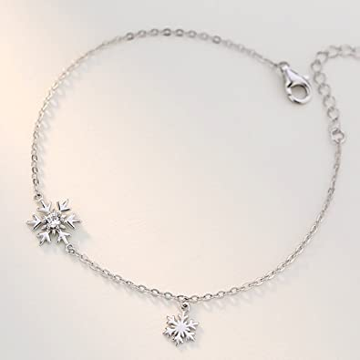 HZB Pure Silver Bracelet Simple Snowflake Fresh Jewelry Birthday Gift Girlfriend Amazoncouk Jewellery