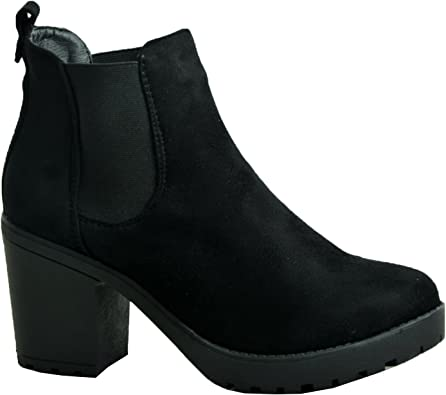 LADIES WOMEN STUDDED ANKLE BOOTS CHUNKY MID HIGH BLOCK HEEL BOOTS ZIP SHOES SIZE