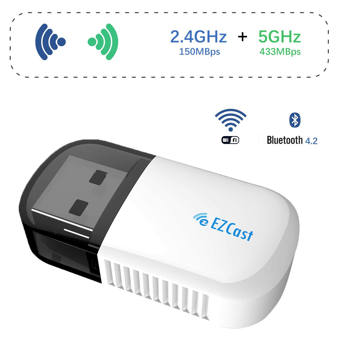 EZcast USB WiFi Adapter Mini Dual Band 5G/2 4GHz Wireless Network LAN Card  with Bluetooth 4 2 2 in 1 Nano USB Adapter Compatible Windows XP/7/8/10/Mac