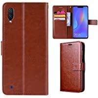 Pinaaki Enterprises Faux Leather Flip Wallet Case Stand with Magnetic Closure & Card Holder Cover for Samsung Galaxy M10 (Vintage Brown)