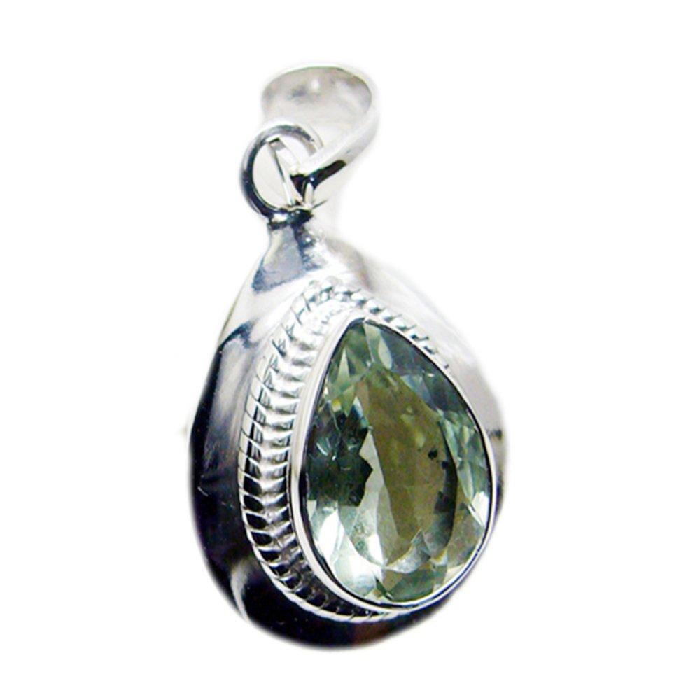 CaratYogi Genuine Green Amethyst Charms Birthstone Pendant Pear Cut Vintage Silver Handmade Pendant