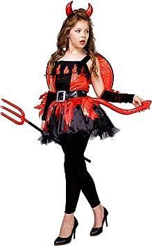 SEA HARE Disfraz de Diablo Rojo para Niña con ala (S:4-6 años ...