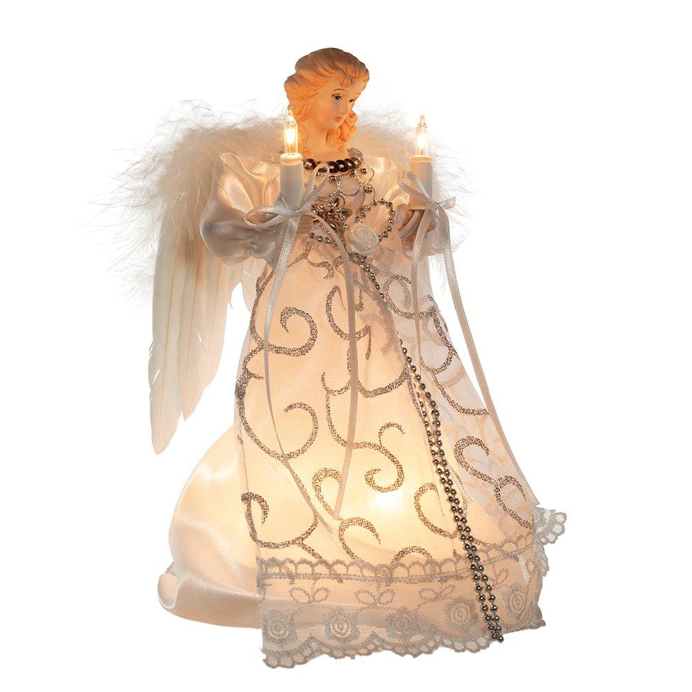 Kurt Adler UL 10-Light Angel Treetop, 9-Inch, White/Silver
