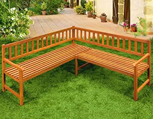 Wooden Corner Bench Garden Patio Park Furniture Outdoor Eucalyptus Hardwood  Seater