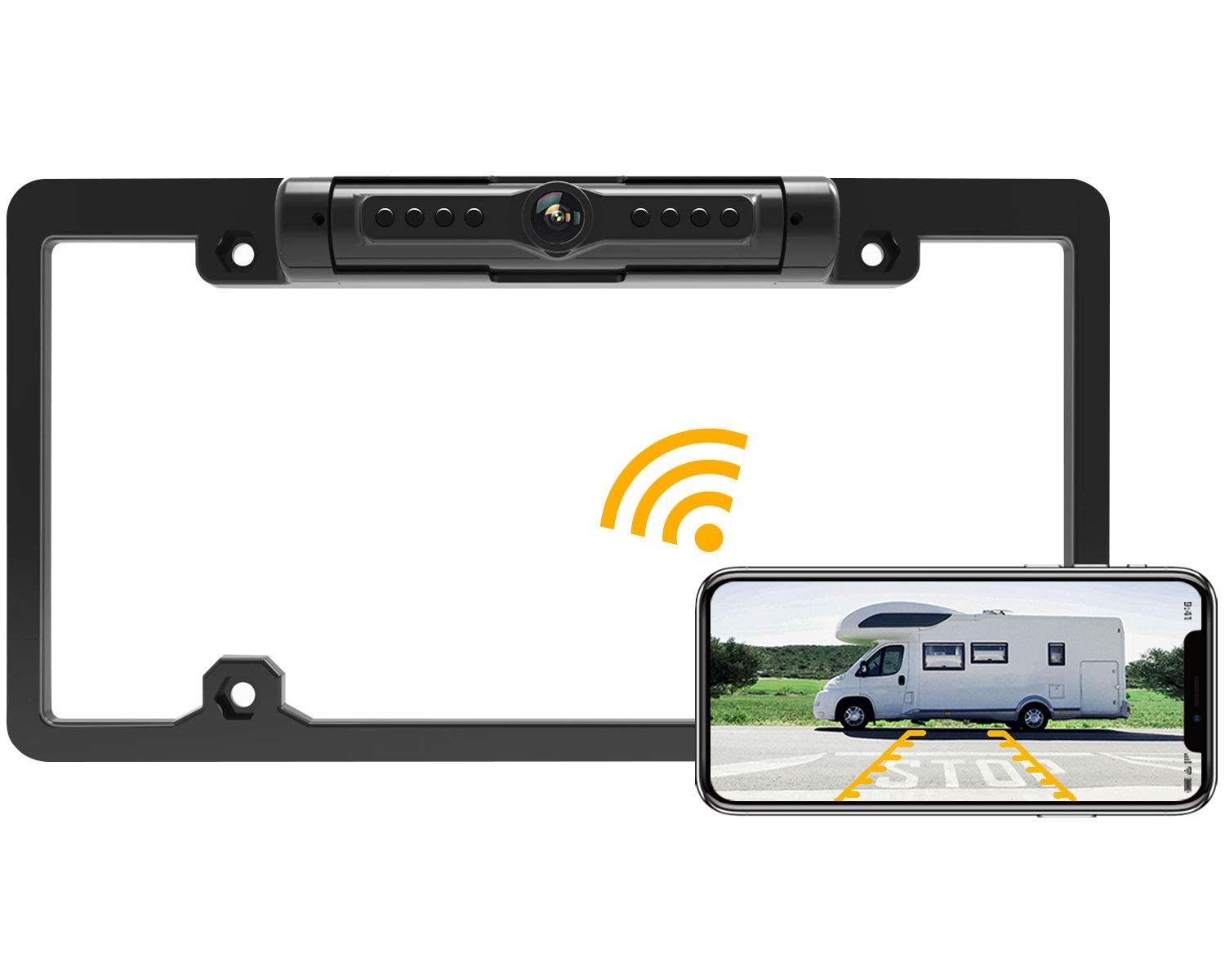 FOOKOO License Plate Wireless Backup Camera, Rear View Camera 170° Viewing Angle Universal Car License Plate Frame,IP69K Waterproof, Fits All Cars Vehicles.