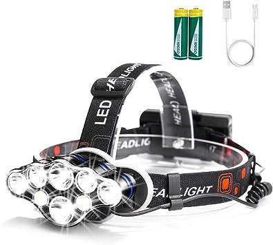 Arzopa Linterna Frontal Recargable LED, 13000 Lúmenes Luz Frontal Cabeza Impermeable Super Brillante con 8 LEDs y 8 Modos para Casco, ...