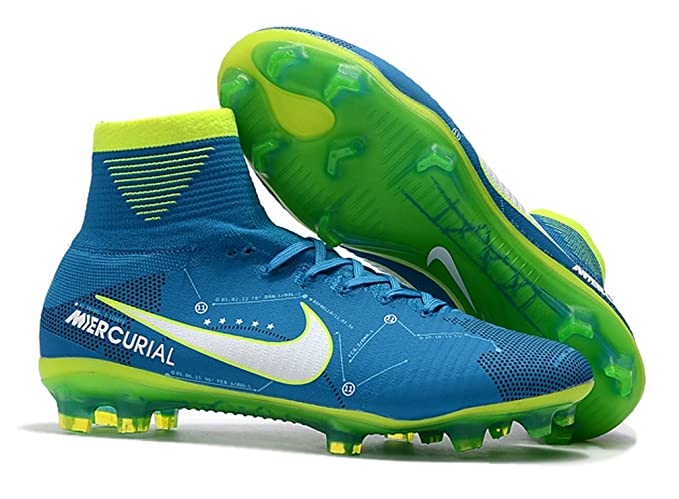 57348657fce4 Men s High Ankle Soccer Cleats Nike Mercurial Superfly V Dynamic Fit Neymar  FG Blue Green
