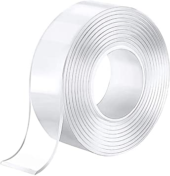 8.2ft//2.5m Traceless Reusable Clear Double Sided Anti-Slip Nano Gel Tape,Removable Sticky Transparent Strips Grip for Glass,Metal,Kitchen,Tile Nano Tape Washable Adhesive Silicone Tape Nano Tape