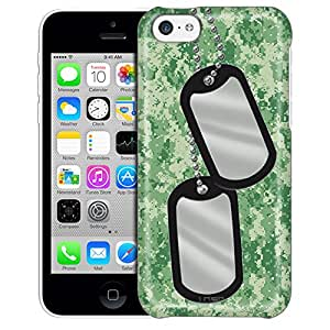 Apple iPhone 5C Case, Slim Fit Snap On Cover by Trek Nameplate on Digital Green Camouflage Trans Case
