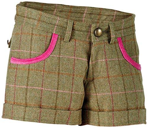 Tottie Women'Kate s Low Rise Shorts, Tweed, Grün Kariert, Größe 12