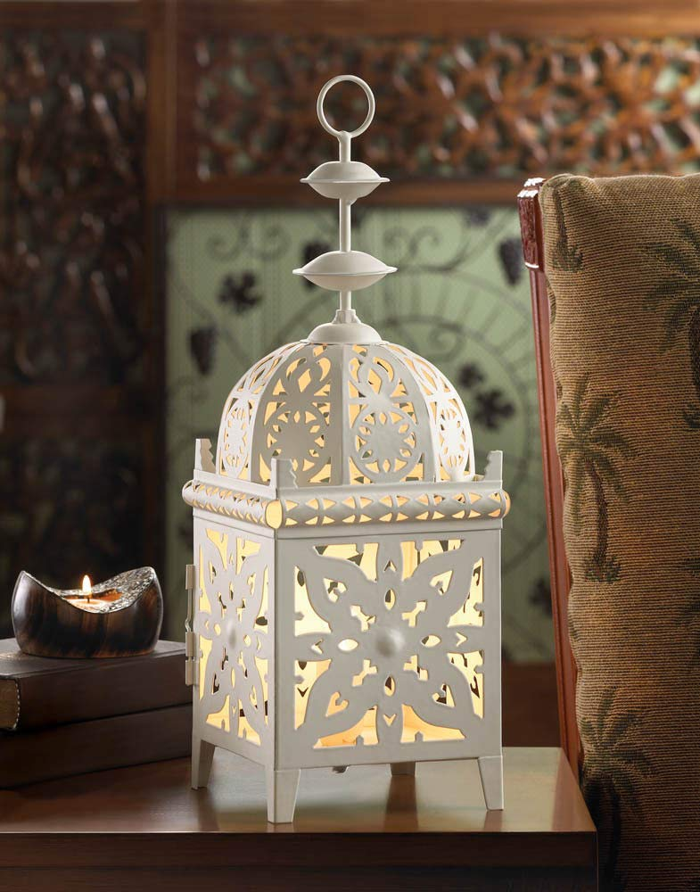 ROX Luxury House White Medallion Electric Table LAMP Lantern Decor Centerpiece New~10016097