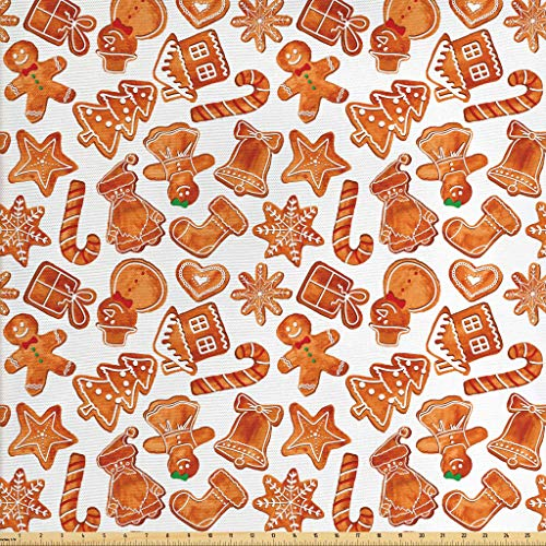 Ambesonne Christmas Fabric by The Yard, Gingerbread Man House Cones Xmas Festive Cookie Celebration Theme, Decorative Fabric for Upholstery and Home Accents, 2 Yards, Pale Brown and White