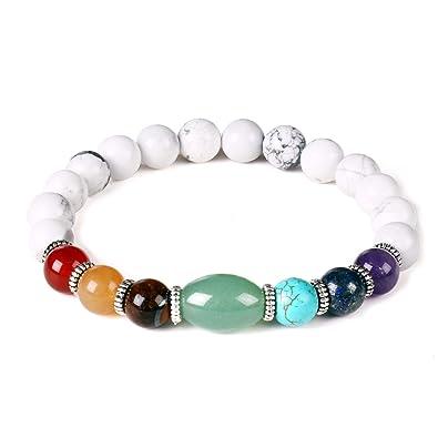 produits chauds grandes variétés pas cher Bracelet de Perles de Turquoise Blanc 7 Chakra Stone Porte ...