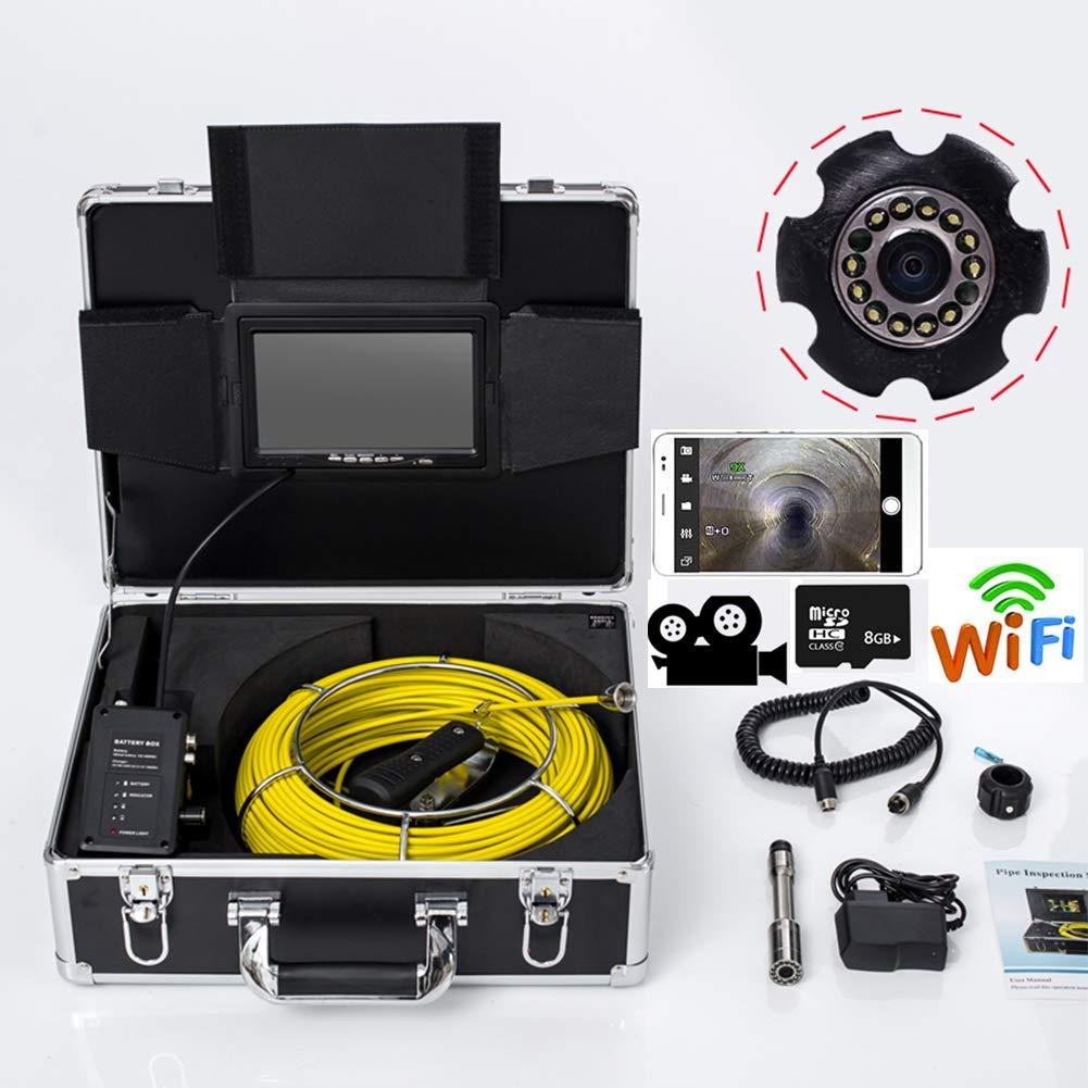 7インチWiFi 23 mm工業用パイプライン下水道検知カメラIP68防水排水検知1000 TVLカメラDVR機能(50M)