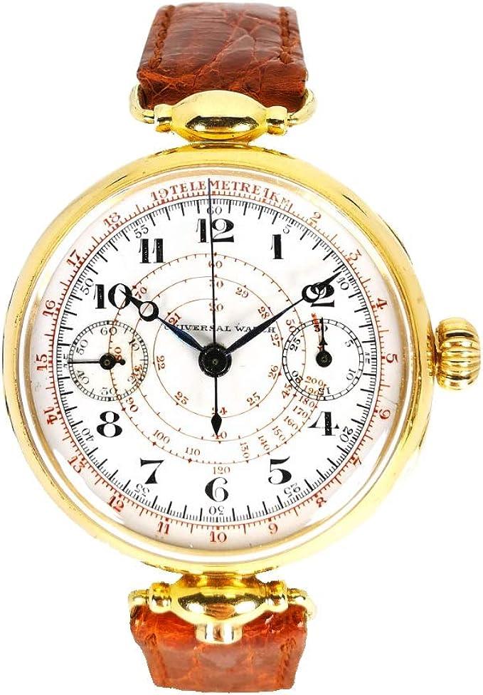 Orologio uomo cronografo meccanico vintage del 1919 in oro storico svizzero Universal Oro
