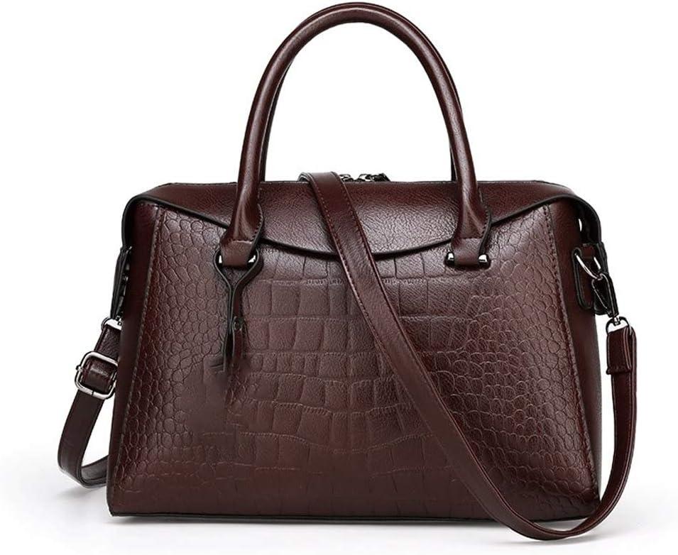 Wshizhdfu خمر حقيبة يد نسائية فاخرة جلد تمساح نمط حقائب النساء السيدات حقائب الكتف كبيرة كبيرة الحجم (اللون: نحاس)