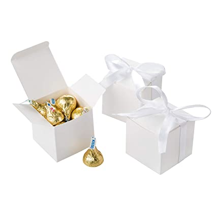 Awell White Gift Candy Box Bulk 2x2x2 Inches With White Ribbon Party Favor Box Pack Of 50