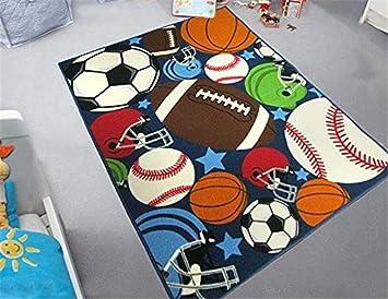 Tappeti Per Bambini Campo Da Calcio : Grenss ragazzi blu rug divertente sport tappeti per bambini sfere