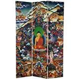Reproduced in stunning color from the Tibetan original, this room divider depicts the Buddha meditating beneath the Bodhi tree at the exact moment he achieved enlightenment. Beset on all sides by powerful demons representing desire, doubt, te...