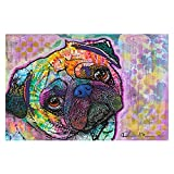 DiaNoche Designs Area Rug, Kitchen Mat, Bath Mat with Chevron Weave Unique, Decorative, Stylish from DiaNoche by Dean Russo - Pug Love Dog, Large 4 X 6 ft