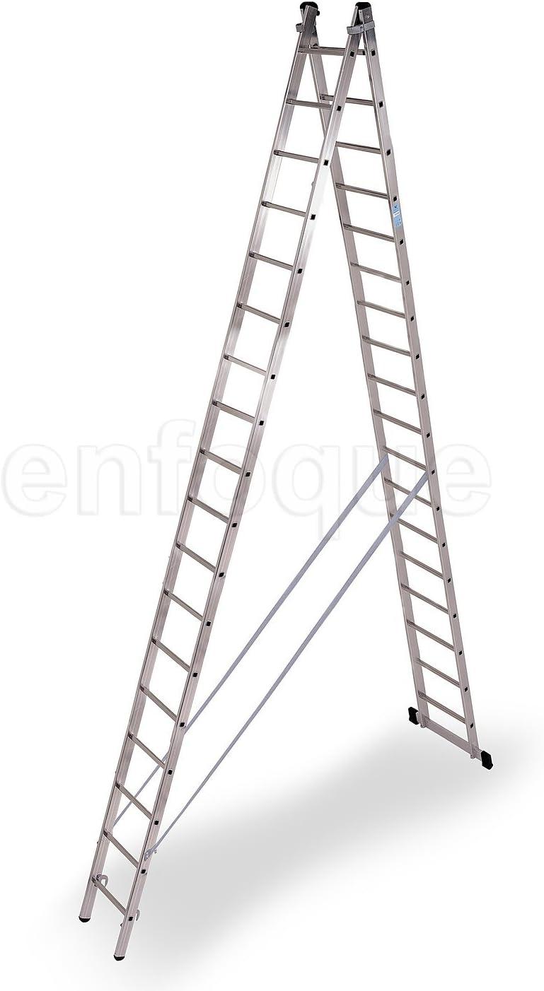 Escalera industrial de aluminio tijera un acceso con base 2 x 18 peldaños serie strong: Amazon.es: Hogar