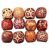 100 PCS 10mm Large Hole Painted Wooden Beads for DIY Making Bracelet Necklace Jewelry Hair Macrame Craft Project Random Style