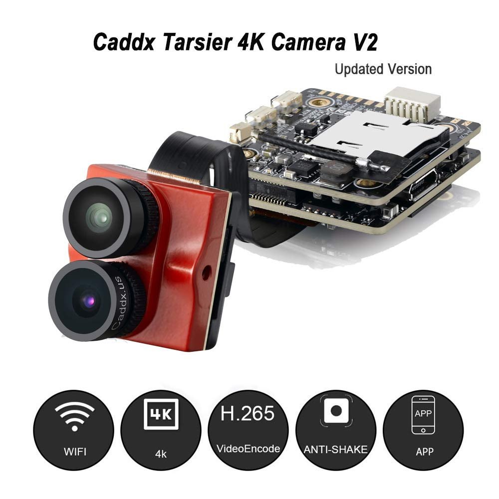 Caddx Tarsier V2 4K HD FPV Camera Upgraded 7G 12M 1200TVL Dual Lens Super WDR WiFi Mini FPV Camera HD Recording DVR Dual AUD OSD with ND8 Filter for RC Racing Drone Like Beta85X (Red) by ACROTOR