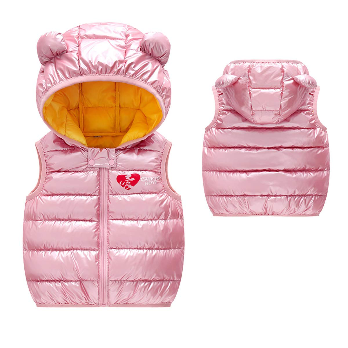 FASH Baby Girls Boys Lovely Warm Waistcoat Kids Autumn Winter Windproof Sleeveless Jackets Lightweight Hooded Vests for 2-6 Y,Pink,90cm by FASH