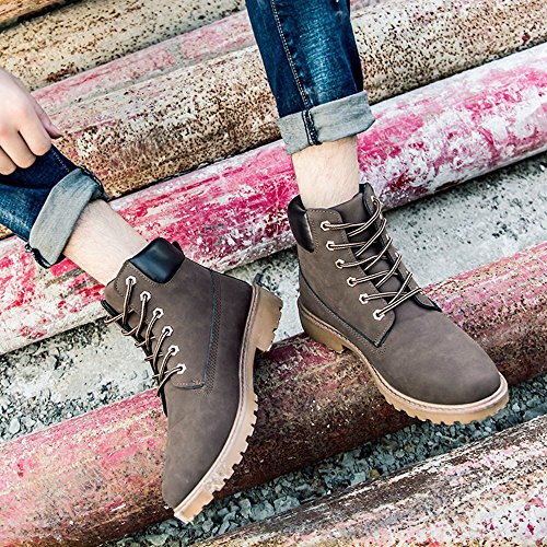 up Brown SITAILE Waterproof Lace Comfortable Women Shoes Combat Men Work Ankle Safety Boots wYrw7