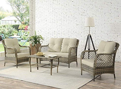Living Express Outdoor Patio Furniture 4PCS PE Rattan Wicker Chair Set,All-Weather Sofa Conversation Set with Washable Cushion,Beige,Enjoying for Outdoor or Indoor in Garden,Backyard,Balcony