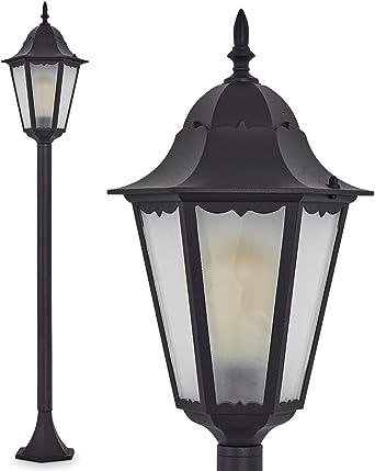 Lámpara de pie Hong Kong Frost exterior de aluminio fundido Negro ...
