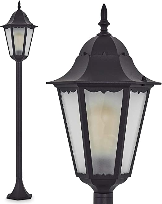 Lámpara de pie Hong Kong Frost exterior de aluminio fundido Negro con leche Cristal – Clásica poste para jardín – exteriores – IP44: Amazon.es: Iluminación