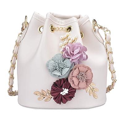 abdfab5dfeb0 Women's PU Leather Flower Drawstring Bucket Bag Crossbody Bag Shoulder Bag  Purse