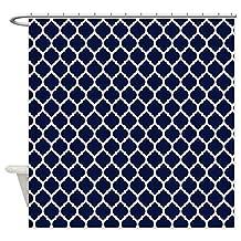 CafePress - Navy Blue Moroccan Lattice - Decorative Fabric Shower Curtain