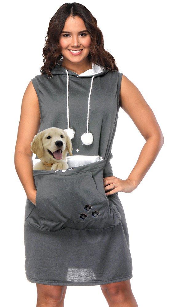 Womens Pet Carrier Dresses Kitten Puppy Holder Long Shirts Big Pouch Hood Tops