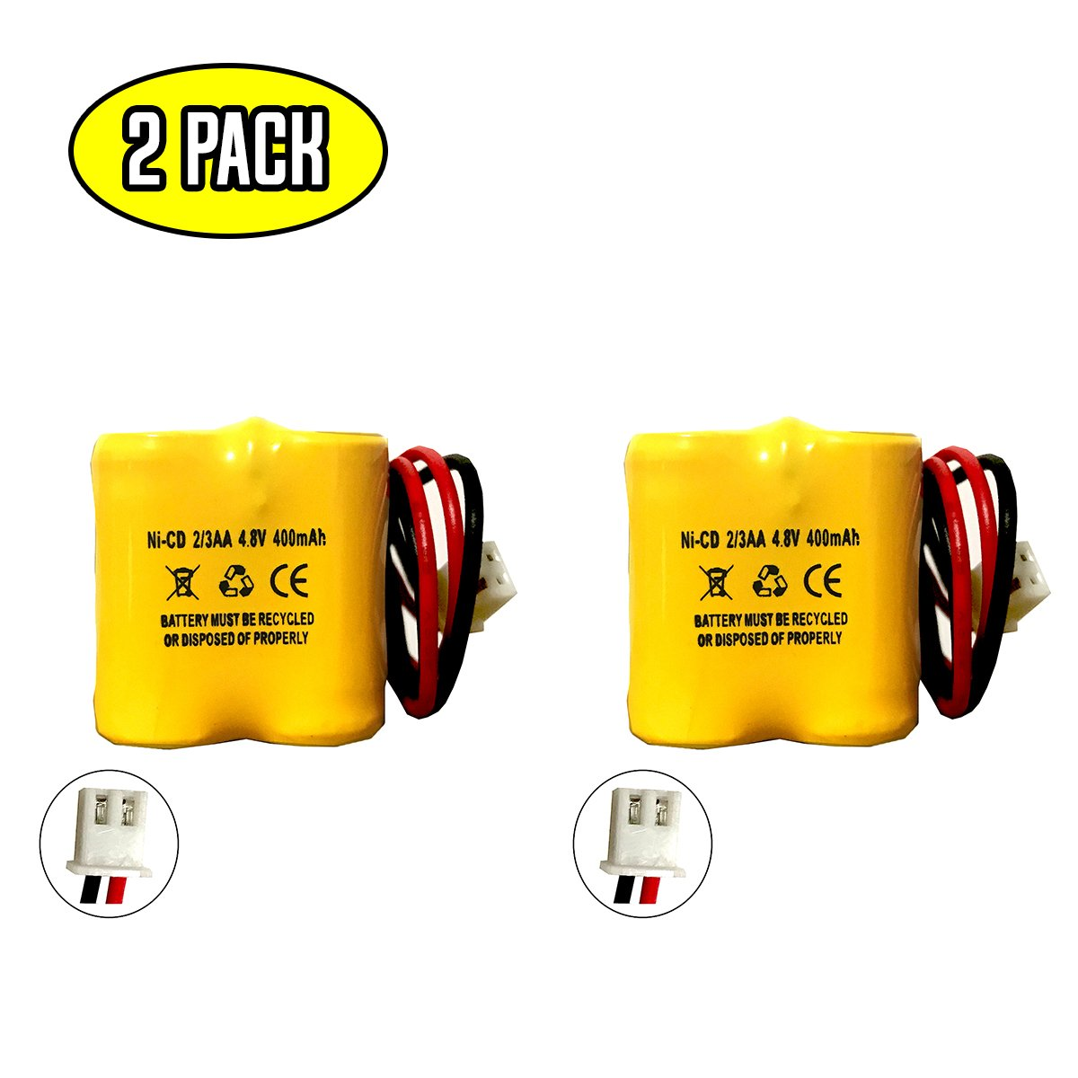 MK Power MH29673 4.8v 400mAh Battery Replacement Exit Sign Emergency Light NiCad BST Battery D-2/3AA400MAH Lithonia BL93NC484 Nickel Cadmium
