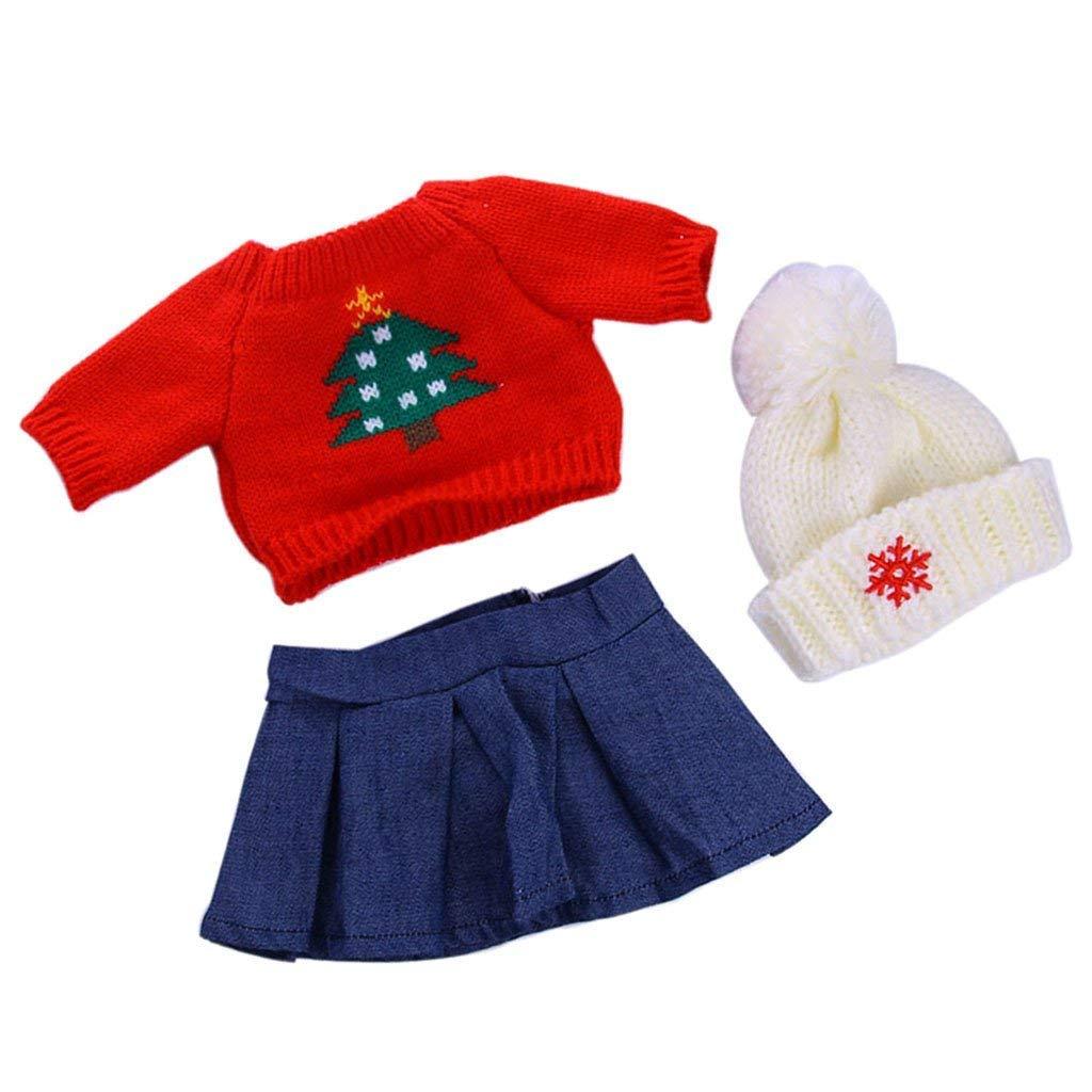 Maglione, cappello, vestito per 45,7 cm American Girl AG Doll stile albero di Natale set di pezzi 7cm American Girl AG Doll stile albero di Natale set di pezzi DingMall