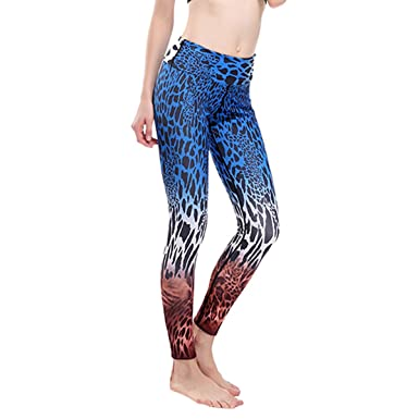 ee35a128b44b PXUDB Women's Fashion Blue Leopard Printed Stretch Sport Yoga Elasticity  Leggings Slimming Workout Tights Quick Dry