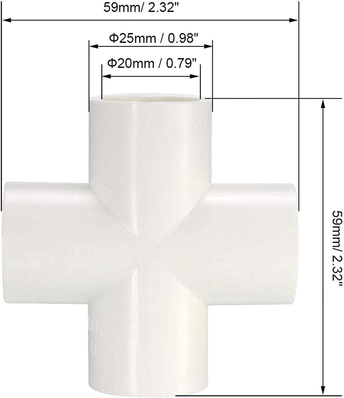 FOTN PVC Instalaci/ón de tuber/ías de 4 v/ías Cruz 20mm Socket T Esquina Accesorios de Color Blanco