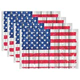 MAMACOOL Grunge Style America Flag On Wood Placemats Heat Resistant Dining Table Mats Non-slip Washable Place Mats Set of 4